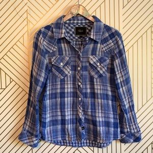 Rails • women's S blue flannel and plaid button up
